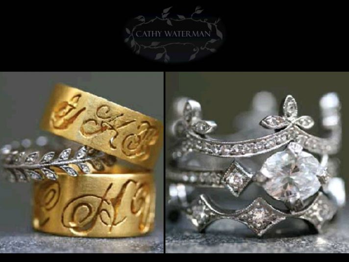 Whimsical engagement rings and wedding bands by Cathy Waterman