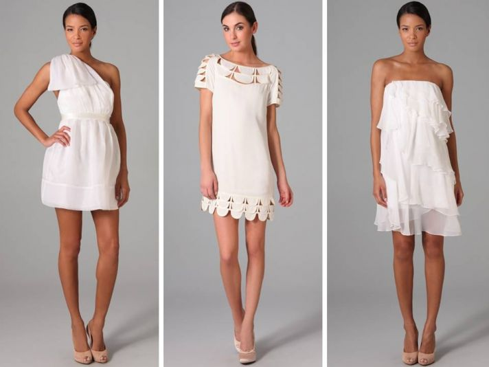 Chic little white dresses from a casual wedding or 2nd look wedding reception dress