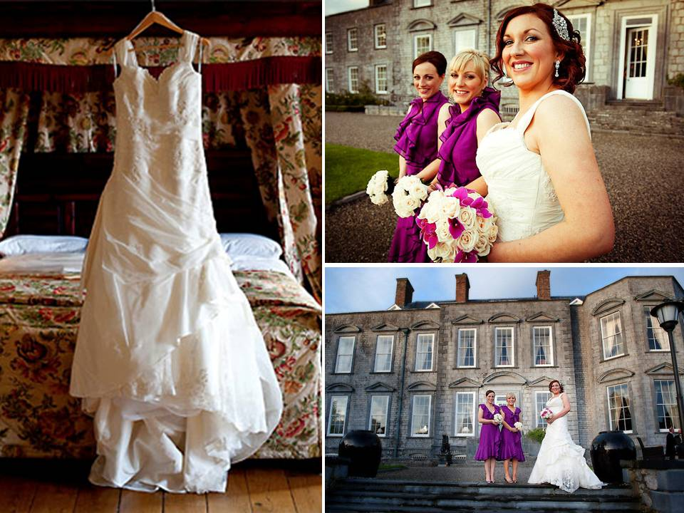 Bride wears ivory halter wedding dress bridesmaids in magenta frocks