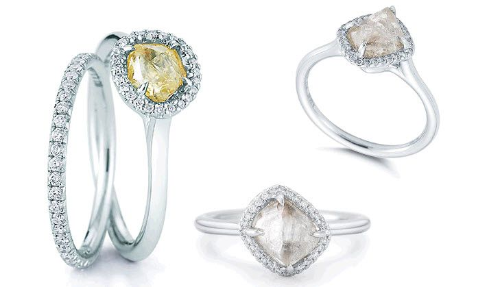 Rough diamond engagement rings with pave-set diamond wedding bands