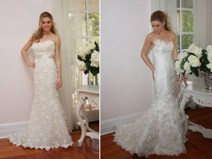 Floral-embellished classic ivory wedding dresses