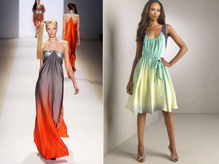 Orange and grey long ombre bridesmaid dress; knee-length pastel ombre bridesmaid dress
