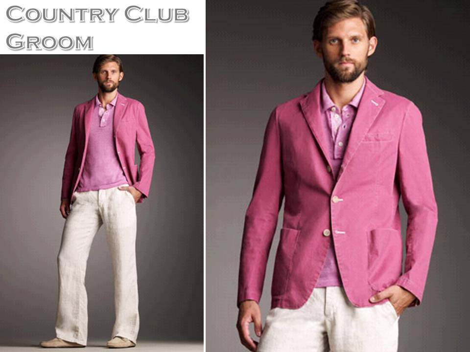 Preppy groom 39s attire for a casual country club wedding raspberry pink