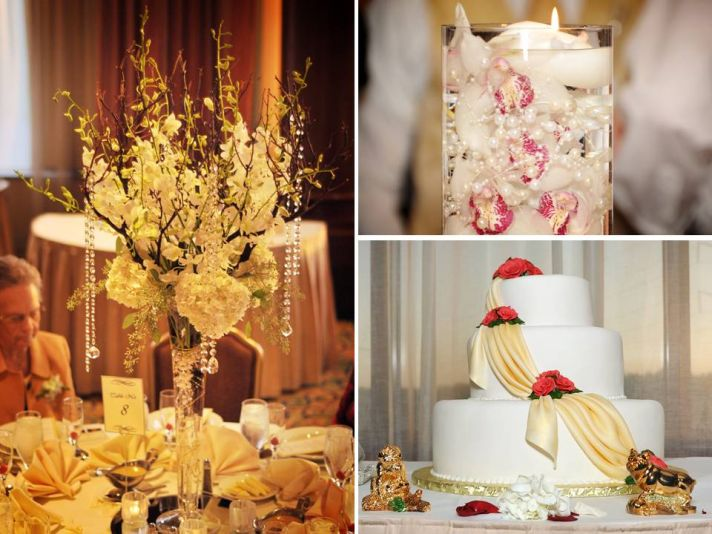 Ivory wedding flowers and crytals arranged in high reception table centerpiece