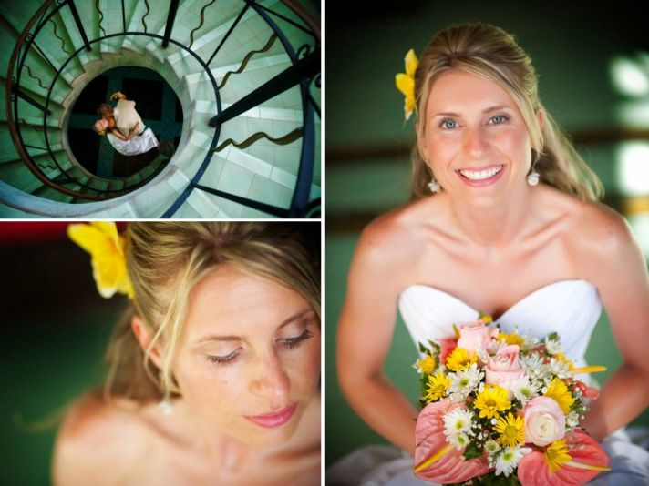 Destination wedding beach bride wears white sweetheart wedding dress, tropical bridal bouquet