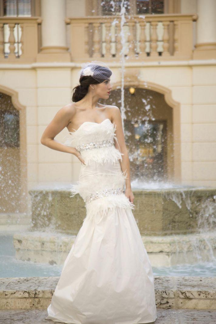 Vintage-inspired ivory lace mermaid wedding dress