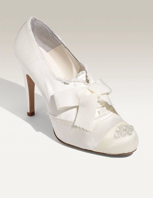 Pedro Garcia bridal pumps- white satin closed toe with sheer tulle and Swarovski detailing