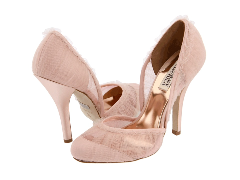 Romantic blush pink bridal heels with sheer lace overlay and ruffled edges