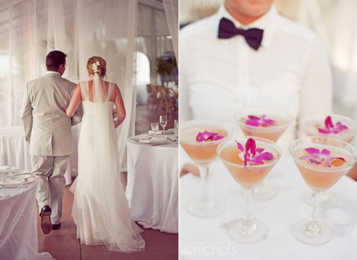 Destination wedding reception with butler-passed cocktails adorned with orchids