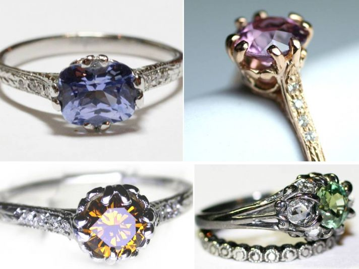 Non-diamond engagement rings featuring sapphires, emeralds and more