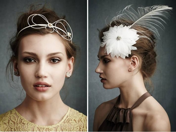 Romantic Anthropologie-inspired bridal headband and feather fascinator from BHLDN