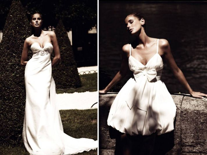 2011 Grecian-inspired wedding dress and wedding reception frock by Ugo Zaldi
