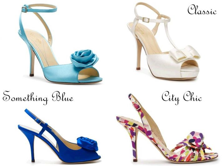 Chic wedding heels by Kate Spade- something blue, romantic flowers, bold, modern print