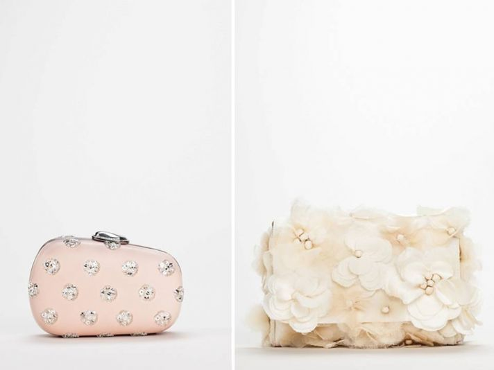 Adorable bridal clutches in blush pink with rhinestone and floral applique