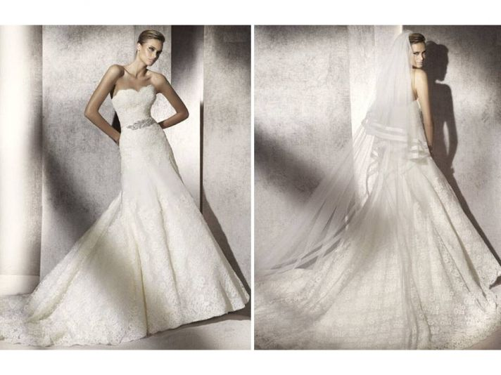 Romantic lace strapless mermaid wedding dress from Manuel Mota for Pronovias