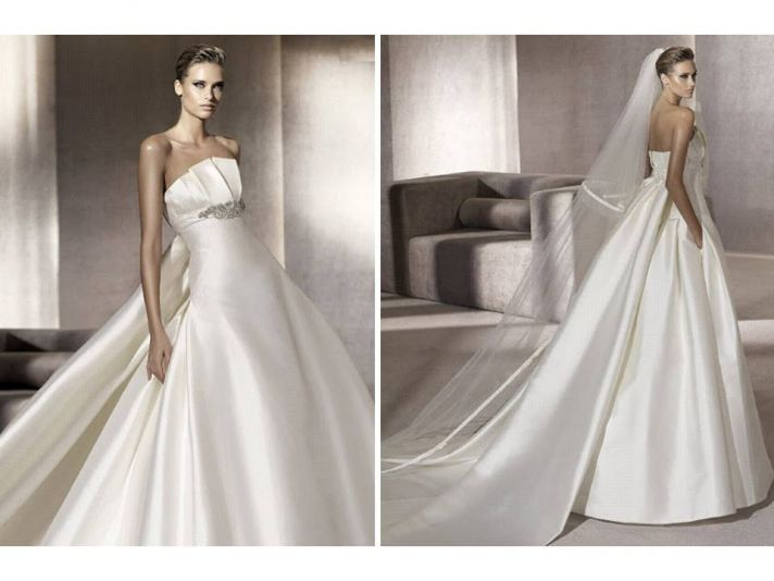 Classic ivory strapless ballgown wedding dress with rhinestone-encrusted detail