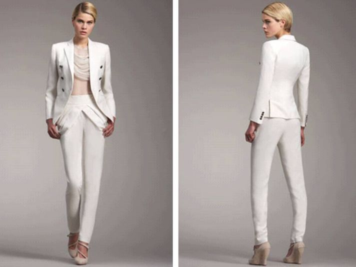 White hot tailored women's suit by Badgely Mishcka