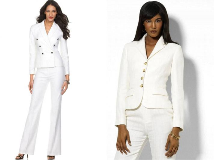 Chic white suits for your rehearsal dinner or engagement party