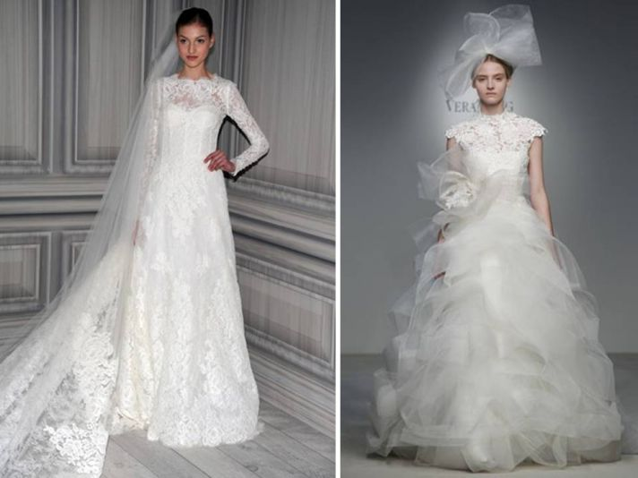 Vera Wang and Monique Lhuillier feature sleeved wedding dresses in Spring 2012 collections