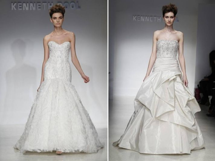 Romantic lace drop-waist a-line wedding dress and high-drama a-line gown with bustle and beaded cors