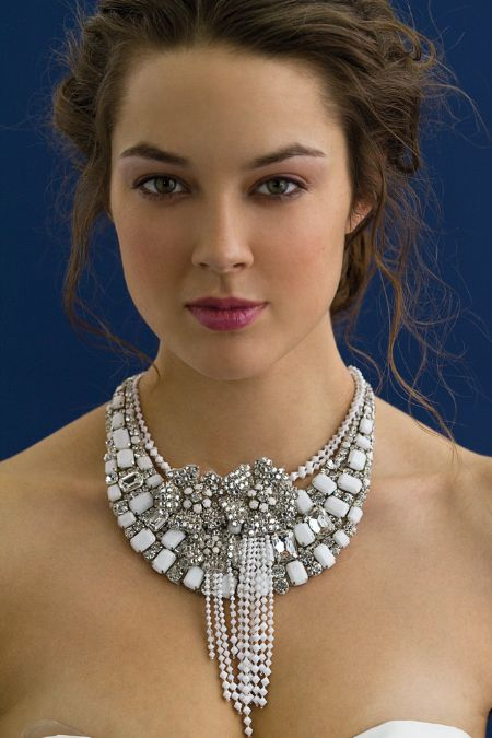 High-drama bridal necklace with hanging crystals by Rivini's creative director