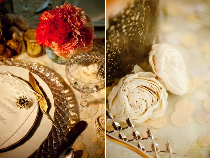 Regal wedding reception tablescape with antique gold touches