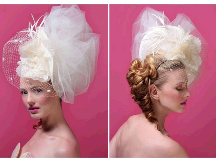 Haute couture inspired statement bridal headpiece with big tulle pouf