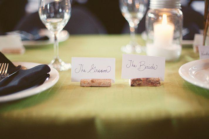 Personalized DIY wedding details- bride and groom escort cards