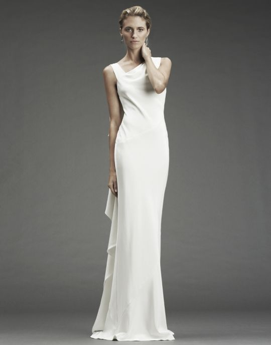 White silk crepe modified mermaid Nicole Miller wedding dress