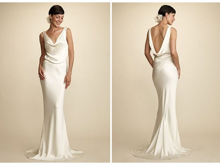 Simple and chic Alix and Kelly cowl neck wedding dress, similar to Pippa Middleton's