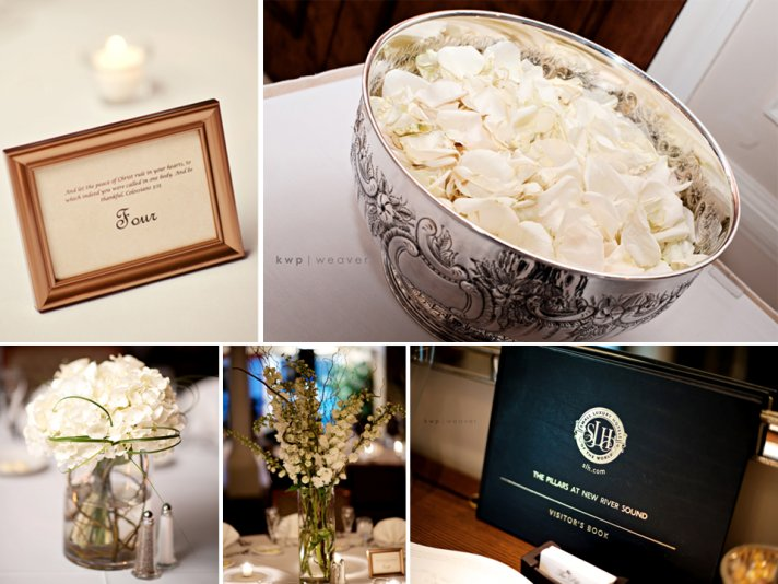 Ft Lauderdale wedding reception decor- classic and simple in ivory and black
