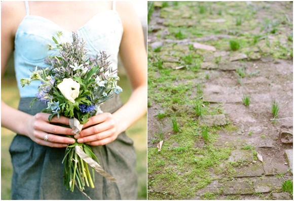 Chic denim wedding inspiration- bridesmaid wears casual dress holds wildflower bouquet