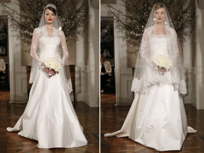 Kate Middleton-inspired princess ballgown wedding dress with sheer lace sleeves