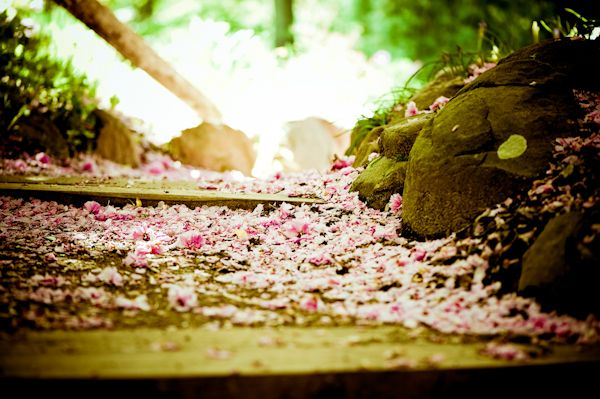 Romantic garden wedding in New Jersey- pink flower petals sprinkled down wedding ceremony aisle