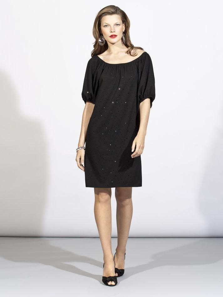 Sheath style off-the-shoulder 3/4 sleeve black bridesmaid dress