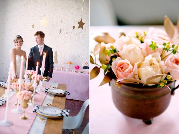 Romantic summer wedding inspiration with peach Juliet Peony Roses