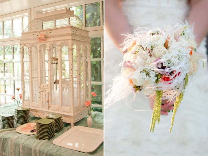 Unique wedding guest book idea and romantic pastel bridal bouquet with feather accents