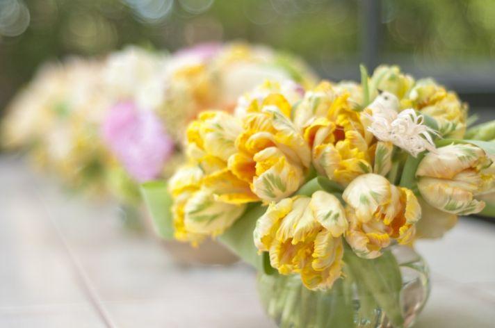 Spring wedding in Las Vegas- bright yellow peony wedding flower centerpieces