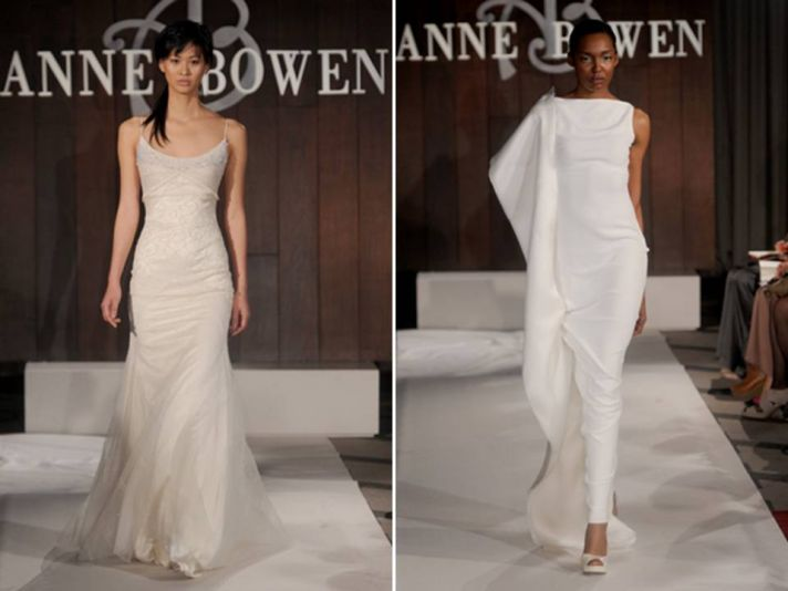 Modern white column wedding dress and romantic ivory scoop neck modified mermaid from Anne Bowen's S