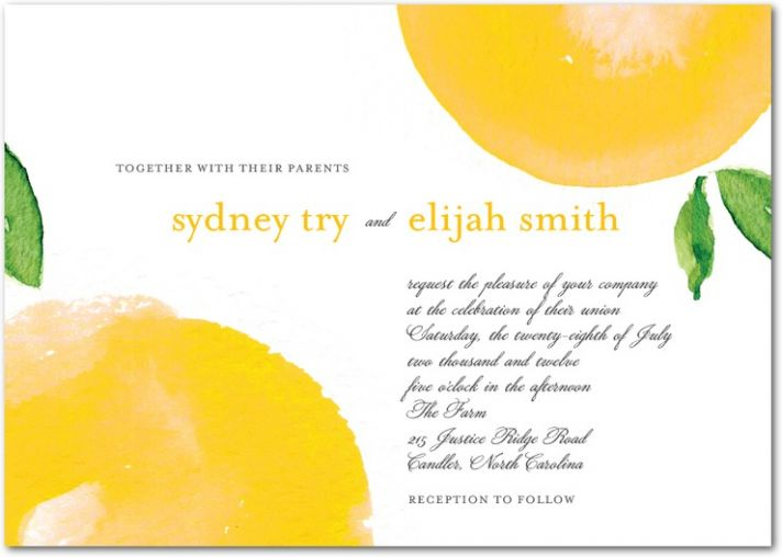 White, marigold and green wedding invitations perfect for Spring or Summer nuptials