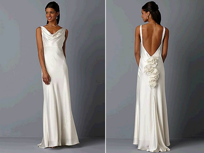 Ivory silk cowl neck wedding dress with open back, inspired by Pippa Middleton's bridesmaid dress