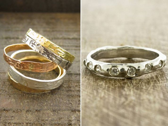 Recycled white gold, yellow gold and rose gold wedding bands and recycled white gold wedding band wi