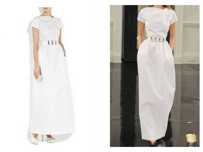 High neck white a-line casual wedding dress with silver bridal belt by Victoria Beckham