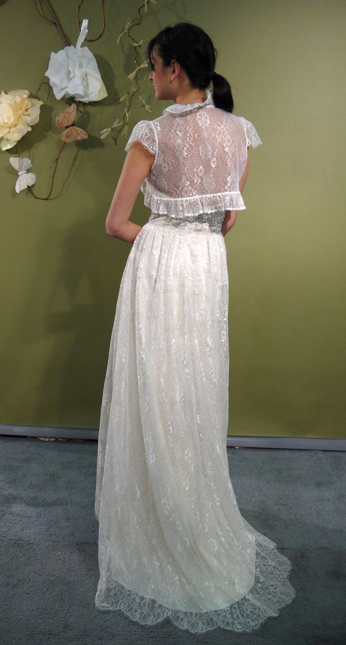 ROmantic ivory sheath Claire Pettibone strapless wedding dress with sheer bridal bolero