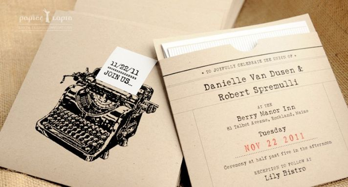 Vintage-chic eco-friendly wedding save-the-dates with urban NYC design