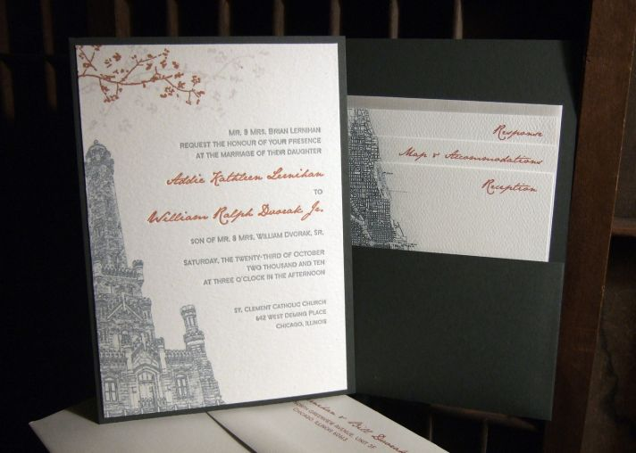 White, charcoal grey and burnt orange eco-friendly letterpress wedding invitation