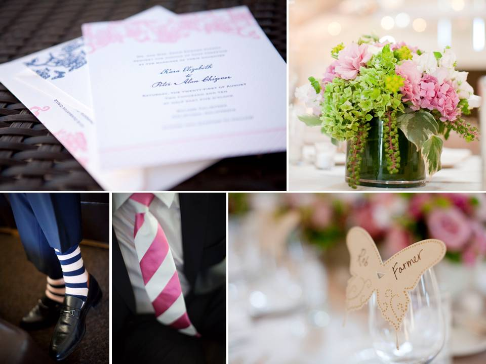 Romantic outdoor Napa CA winery wedding with navy blue and soft pink