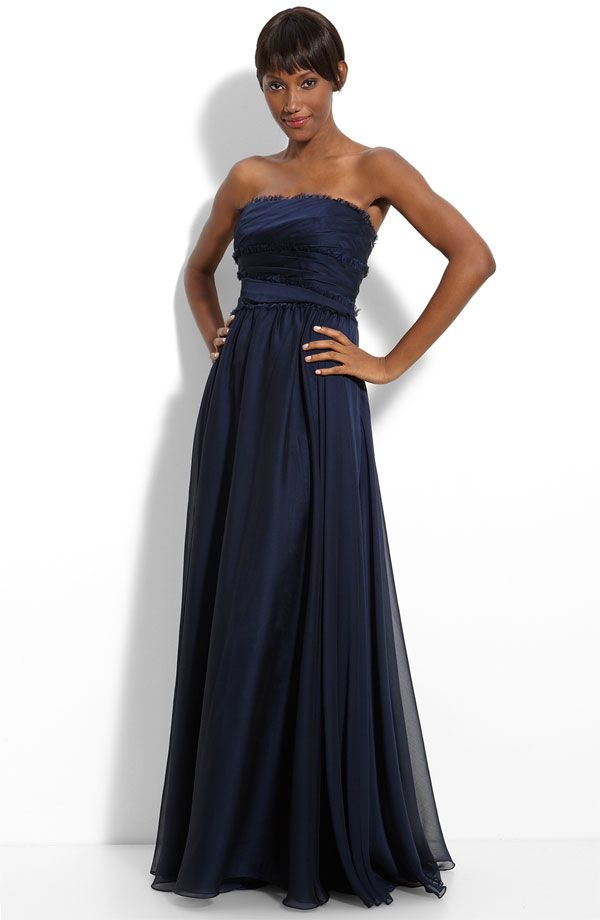 Gorgeous navy blue strapless bridesmaid dress with fringe trim by Monique Lhuillier