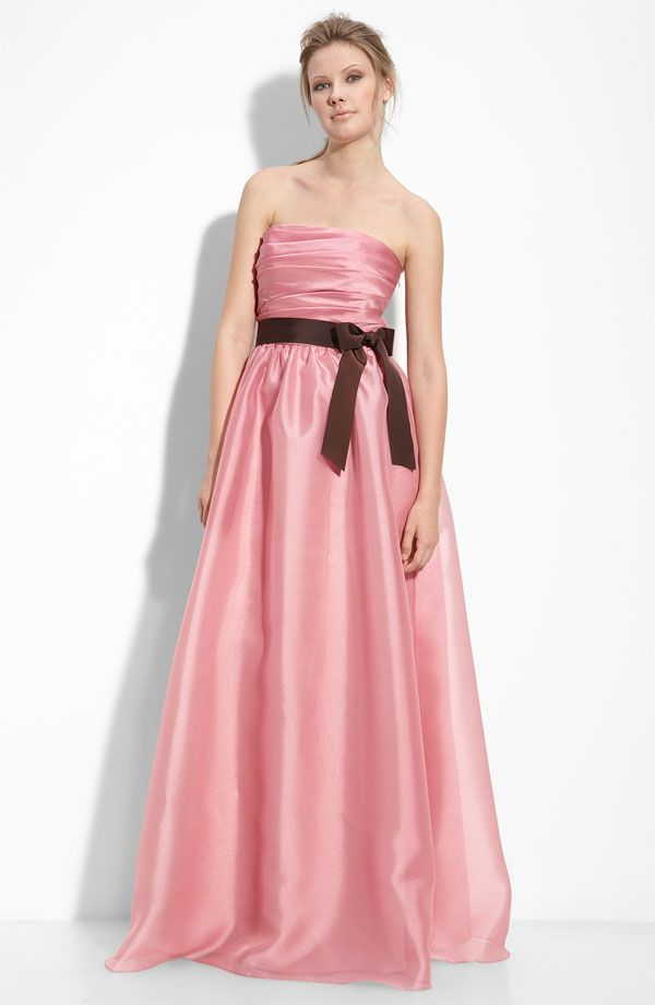 Pink taffeta full length bridesmaids dress with brown sash