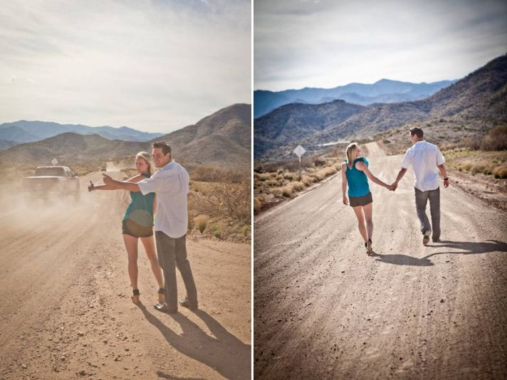 Casual bride and groom walk hand in hand through deserted Arizona desert